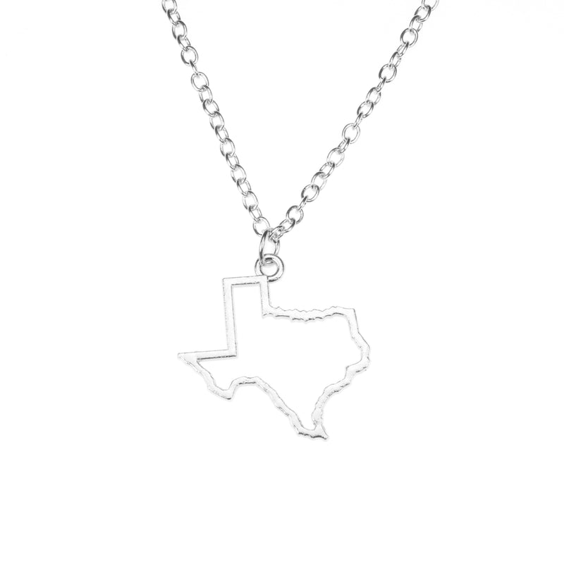 Beautiful Unique Texas State Design Solid White Gold Pendant By Jewelry Lane