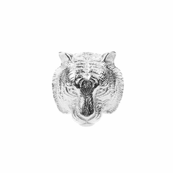 Beautiful Modern Tiger Face Solid White Gold Ring By Jewelry Lane