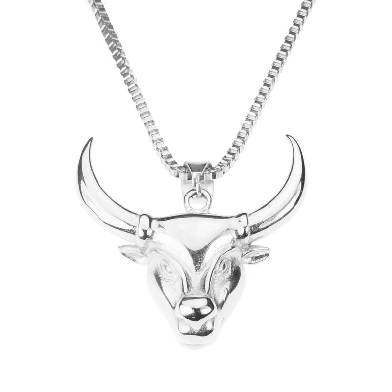 Beautiful Unique Masculine Toro Design Solid White Gold Pendant By Jewelry Lane