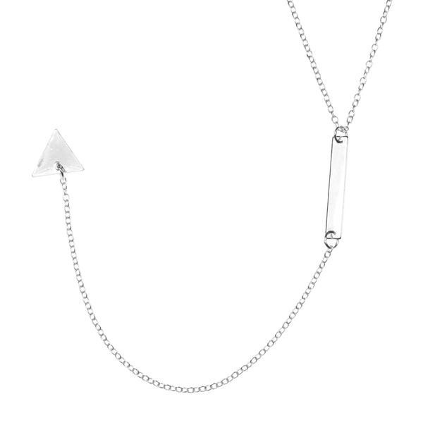 Beautiful Elongated Dangle Drop Triangle Solid White Gold Necklace By Jewelry Lane