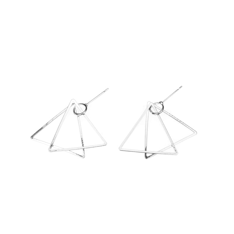 Elegant Classic Double Triangle Design Solid White Gold Earrings By Jewelry Lane