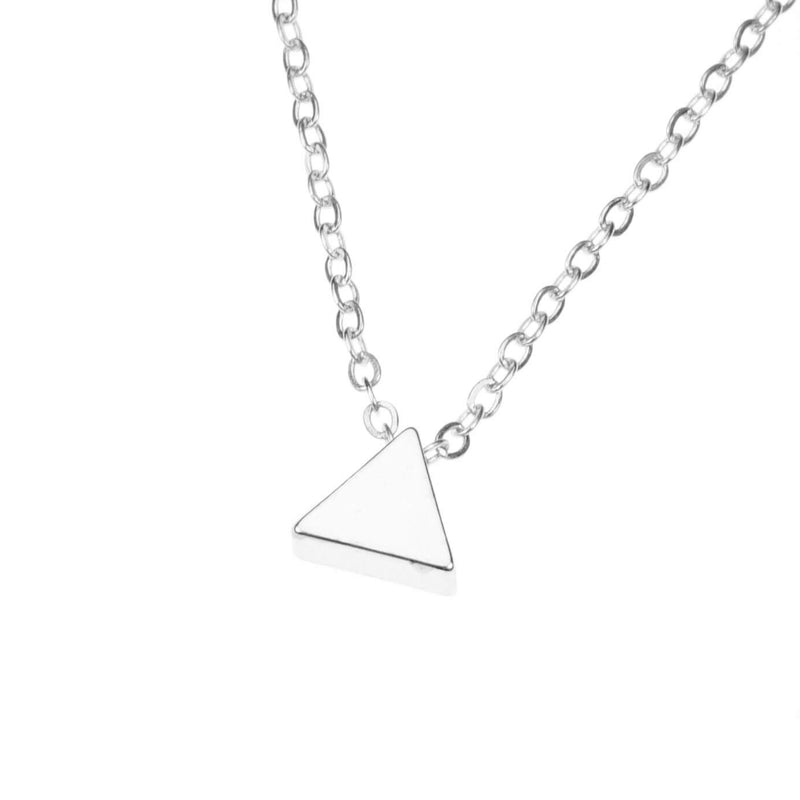 Elegant Simple Triangle Solid White Gold Necklace By Jewelry Lane