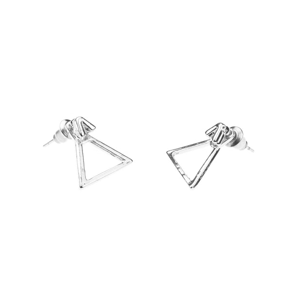Charming Beautiful Triangle Stud Solid White Gold Earrings By Jewelry Lane