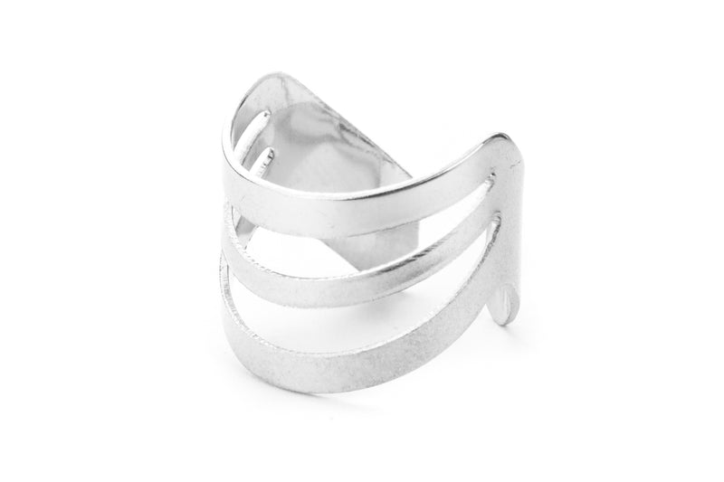 Beautiful Triple Flat Flared Solid White Gold Ring By Jewelry Lane
