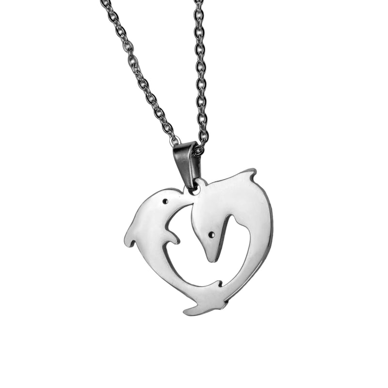 Elegant Twin Dolphin Heart Solid White Gold Pendant By Jewelry Lane