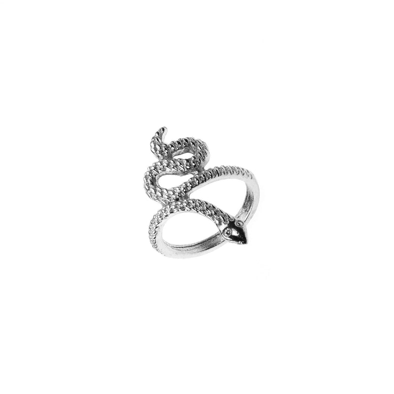 Charming Unique Snake Design Solid White Gold Ring By Jewelry Lane