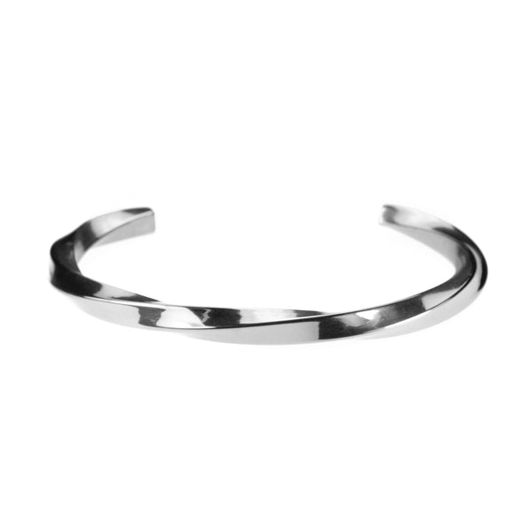 Charming Elegant Twisted Cuff Solid White Gold Bangle By Jewelry Lane