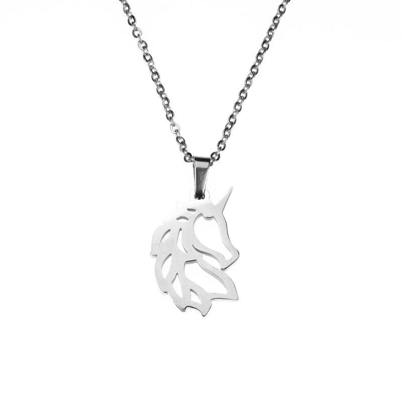 Beautiful Charming Rare Unicorn Solid White Gold Necklace By Jewelry Lane