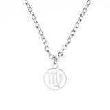 Charming Zodiac Virgo Minimalist Solid White Gold Pendant By Jewelry Lane