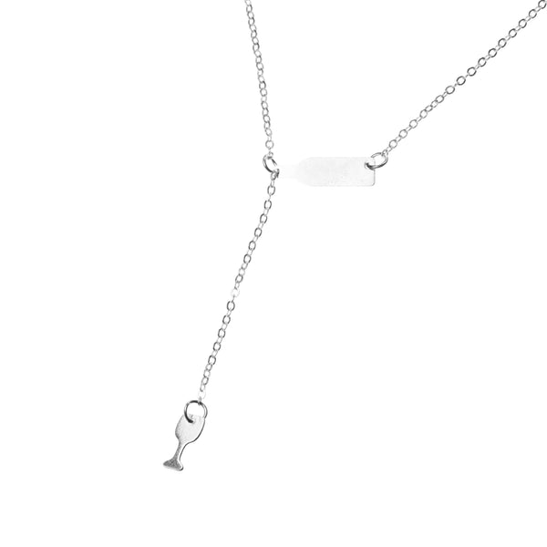 Beautiful Elongated Wine Drop Solid White Gold Necklace By Jewelry Lane