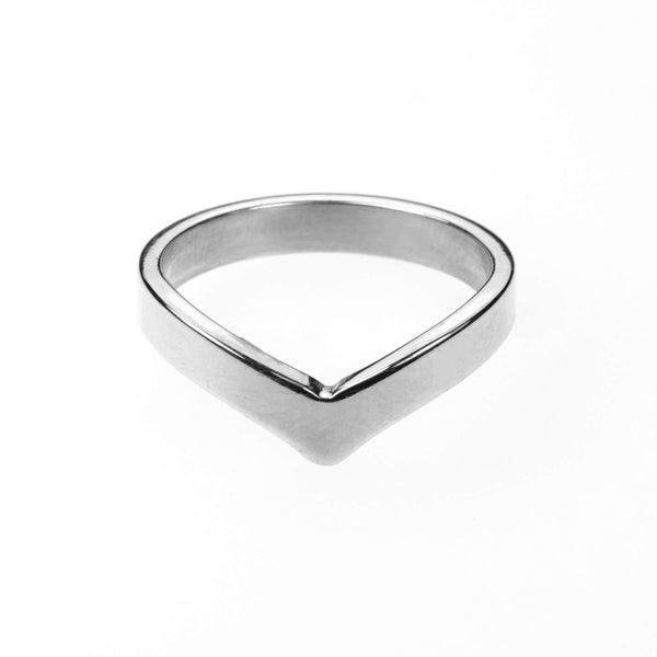 Beautiful Unique Wishbone Design Solid White Gold Ring By Jewelry Lane