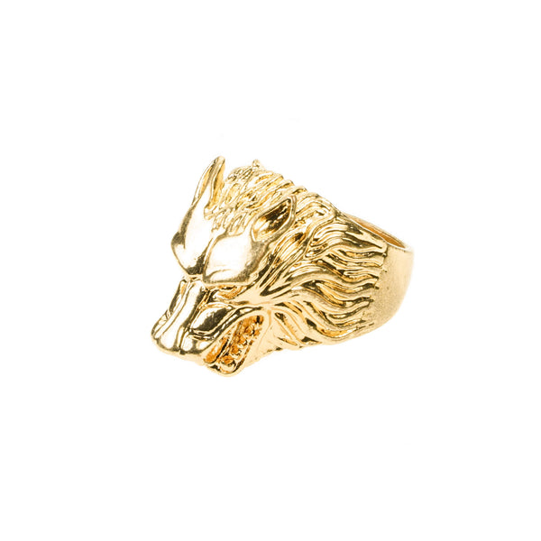 Modern Unique Wolf Design Solid Gold Ring By Jewelry Lane