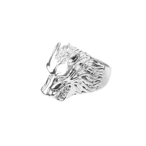 Modern Unique Wolf Design Solid White Gold Ring By Jewelry Lane