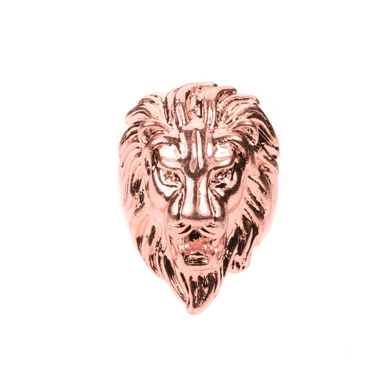 Elegant Royal Lion Face Design Solid Rose Gold Ring By Jewelry Lane