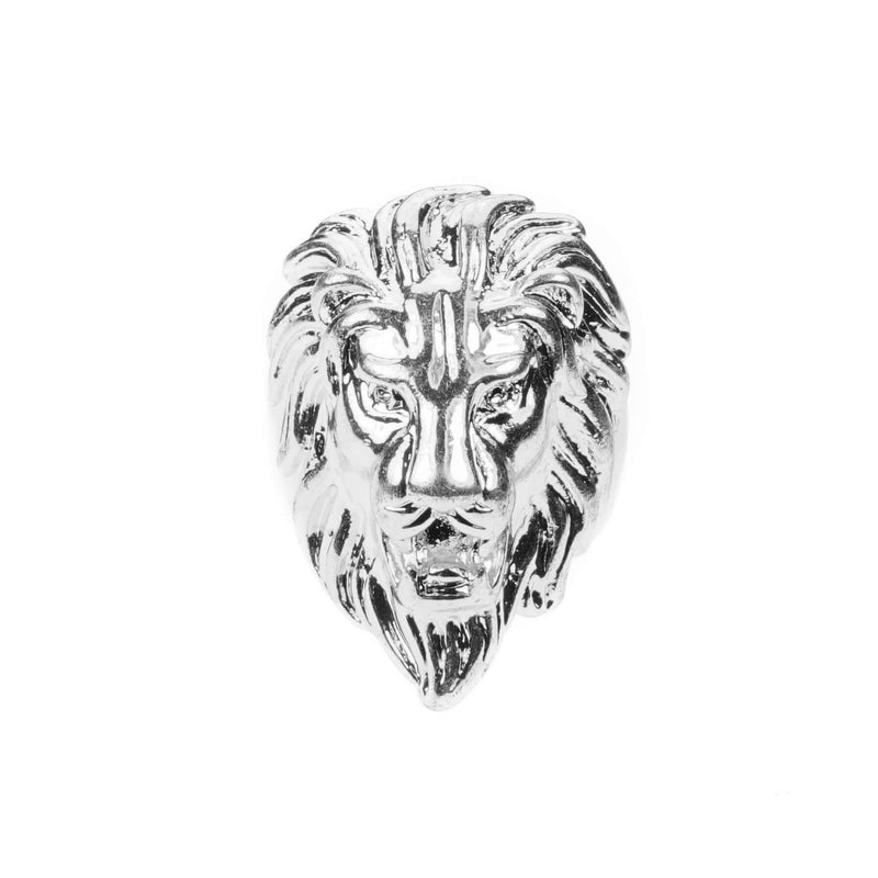 Elegant Royal Lion Face Design Solid White Gold Ring By Jewelry Lane
