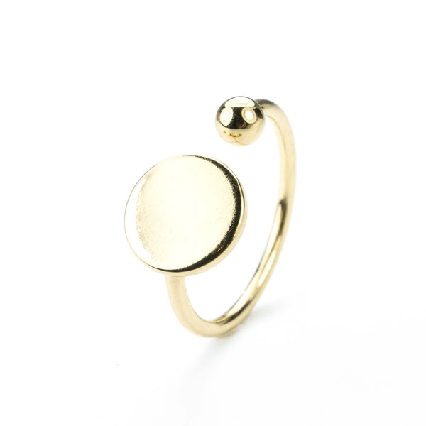 Stylish Unique Circle Disc Stacker Solid Gold Ring By Jewelry Lane