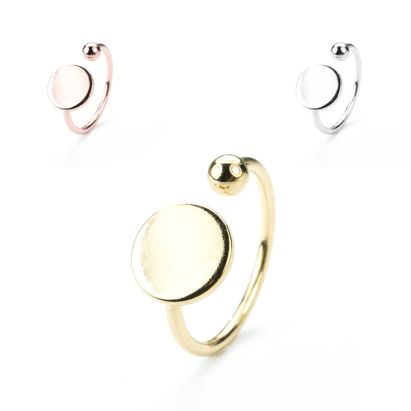 Stylish Unique Circle Disc Stacker Solid Gold Rings By Jewelry Lane