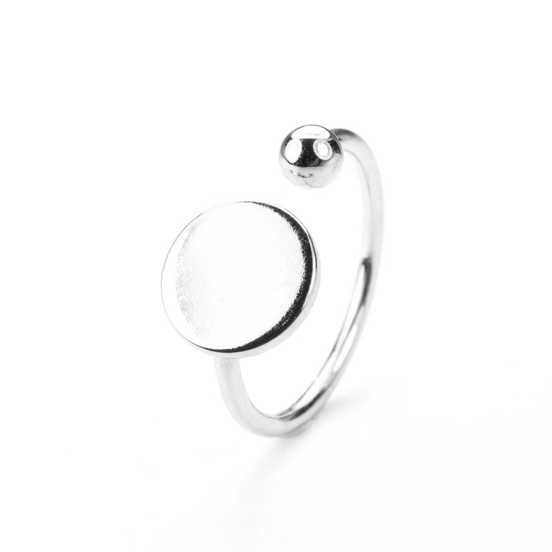 Stylish Unique Circle Disc Stacker Solid White Gold Ring By Jewelry Lane