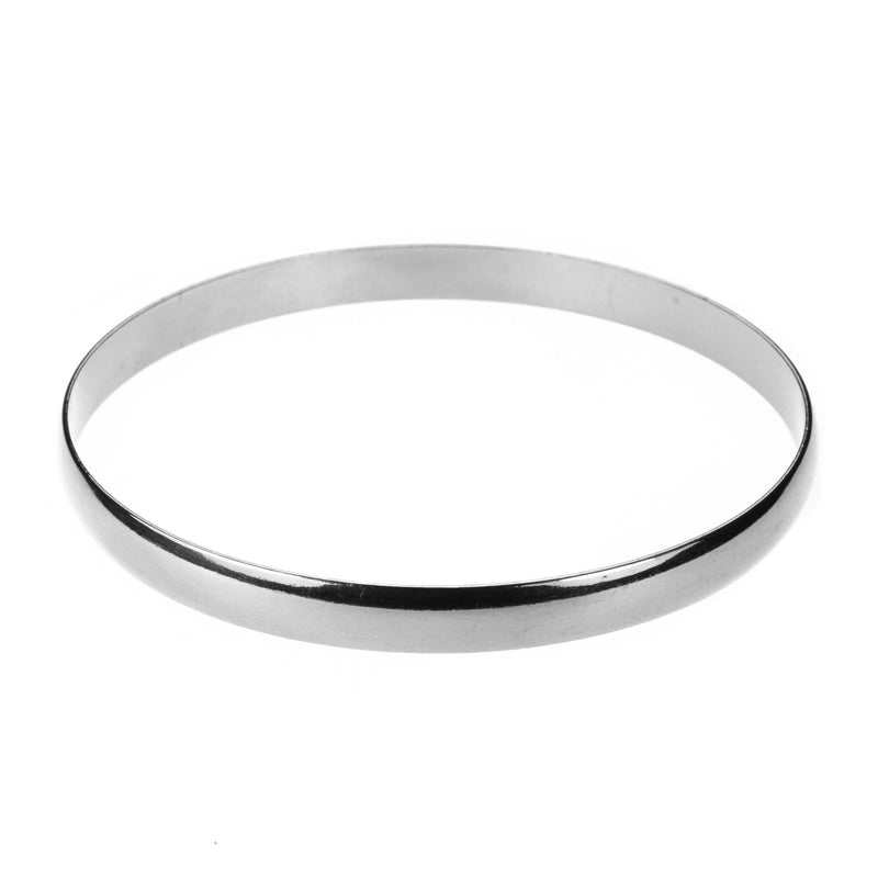 Simple Sleek Timeless Plain Solid White Gold Bangle By Jewelry Lane