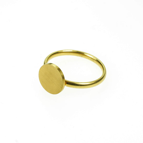 Beautiful Simple Round Flat Top Design Solid Gold Ring By Jewelry Lane