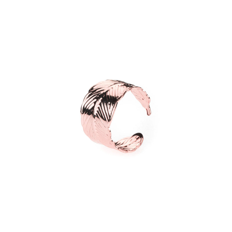 Beautiful Unique Feather Cuff Design Solid Rose Gold Ring By Jewelry Lane