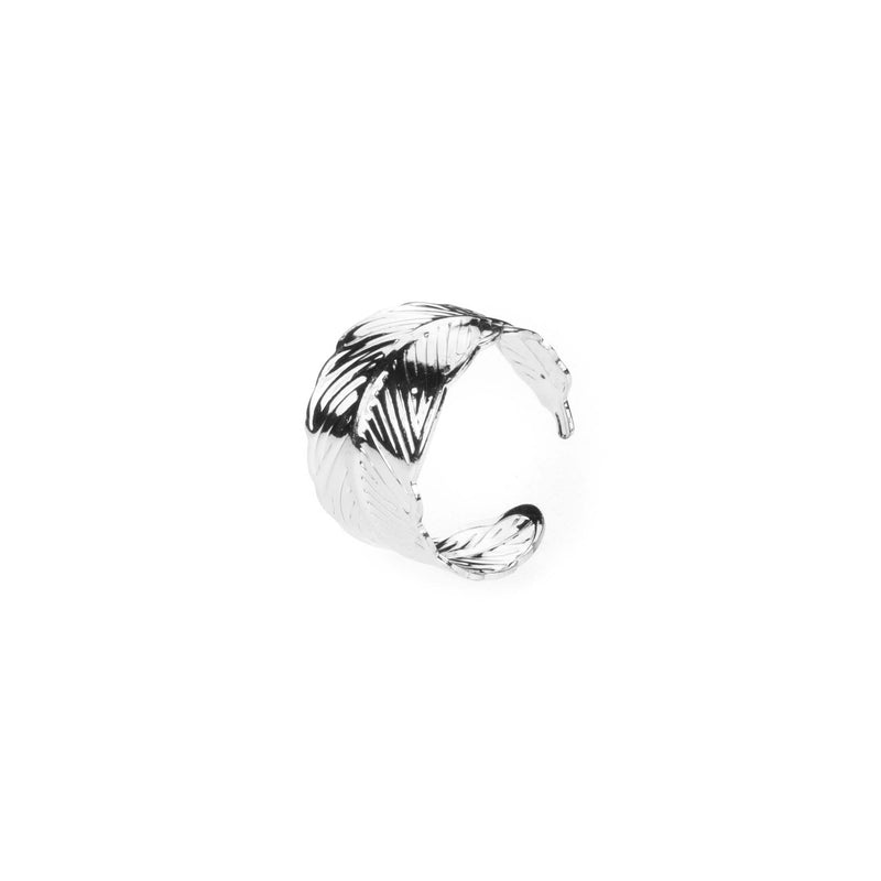 Beautiful Unique Feather Cuff Design Solid White Gold Ring By Jewelry Lane
