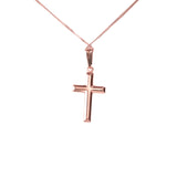 Solid Rose Gold Cross Pendant by Jewelry Lane