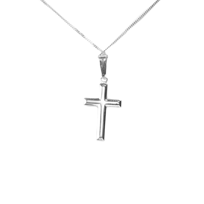Solid White Gold Cross Pendant by Jewelry Lane