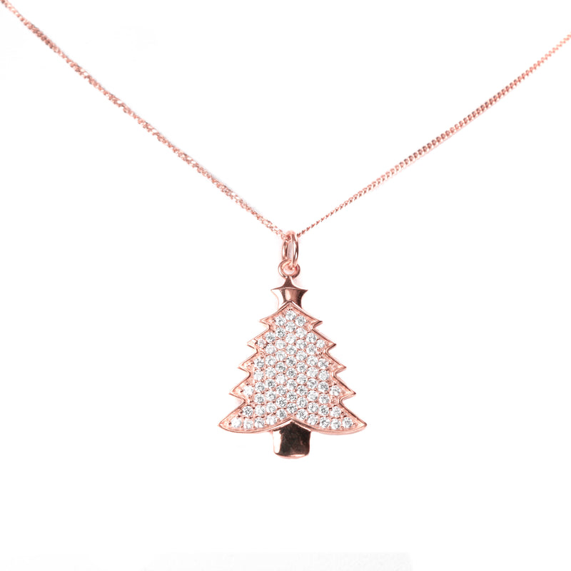 Beautiful Rose Gold Christmas Tree Pendant from Jewelry Lane