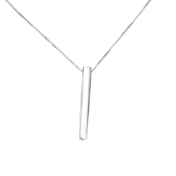 White Gold Bar Pendant Necklace by Jewelry Lane