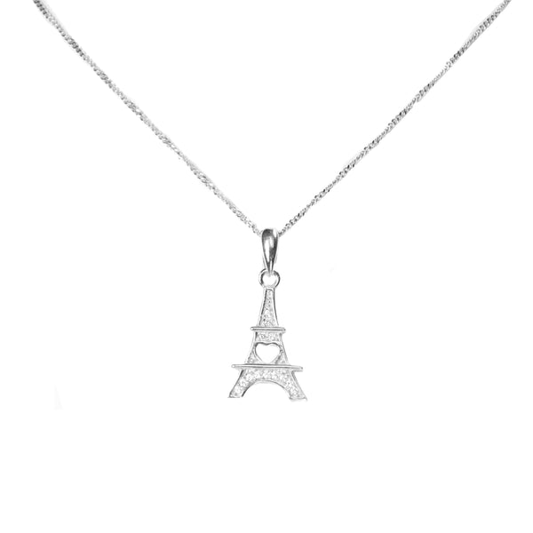 White Gold Eiffel Tower Pendant