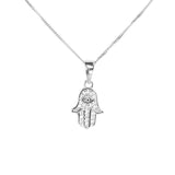 White Gold Hamsa Pendant by Jewelry Lane