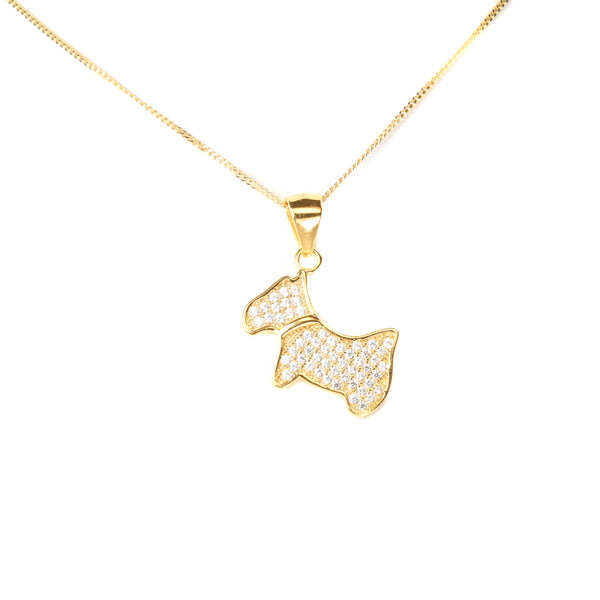 Gold Chic Dog Pendant by Jewelry Lane