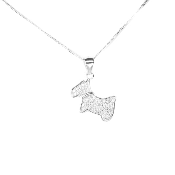 White Gold Chic Dog Pendant by Jewelry Lane