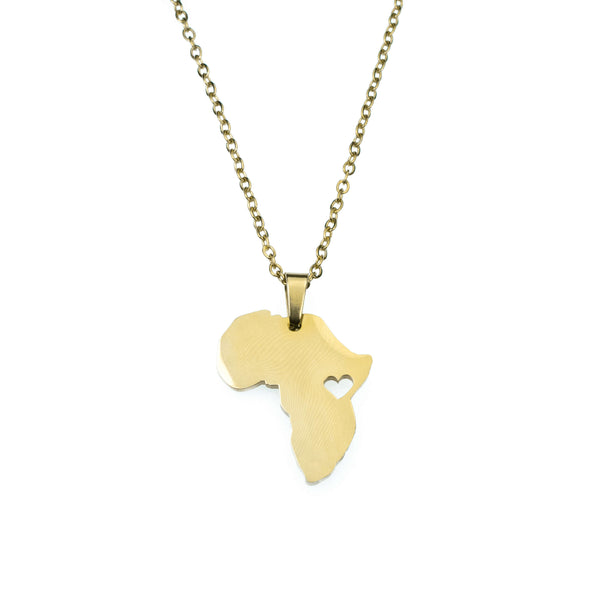 Solid Gold African Love Pendant by Jewelry Lane