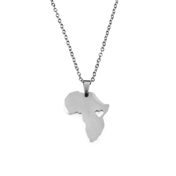 Solid White Gold African Love Pendant by Jewelry Lane