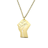 Solid Gold Raised Power Fist Pendant by Jewelry Lane