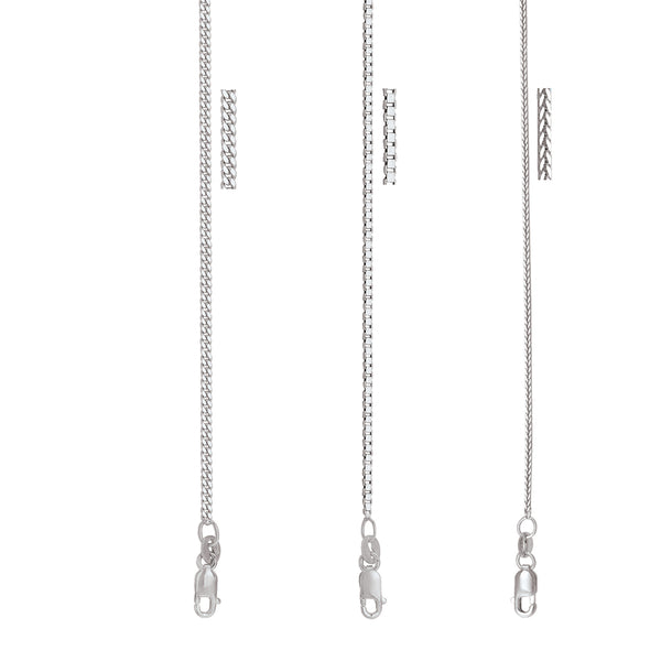 Elegant Thin Solid White Gold Chain By Jewelry Lane