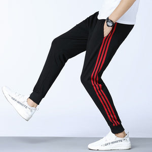 Summer Mens Cotton Sport Pants Side Striped Sweatpants Men Joggers Track Pants Skinny Trousers Casual Pants