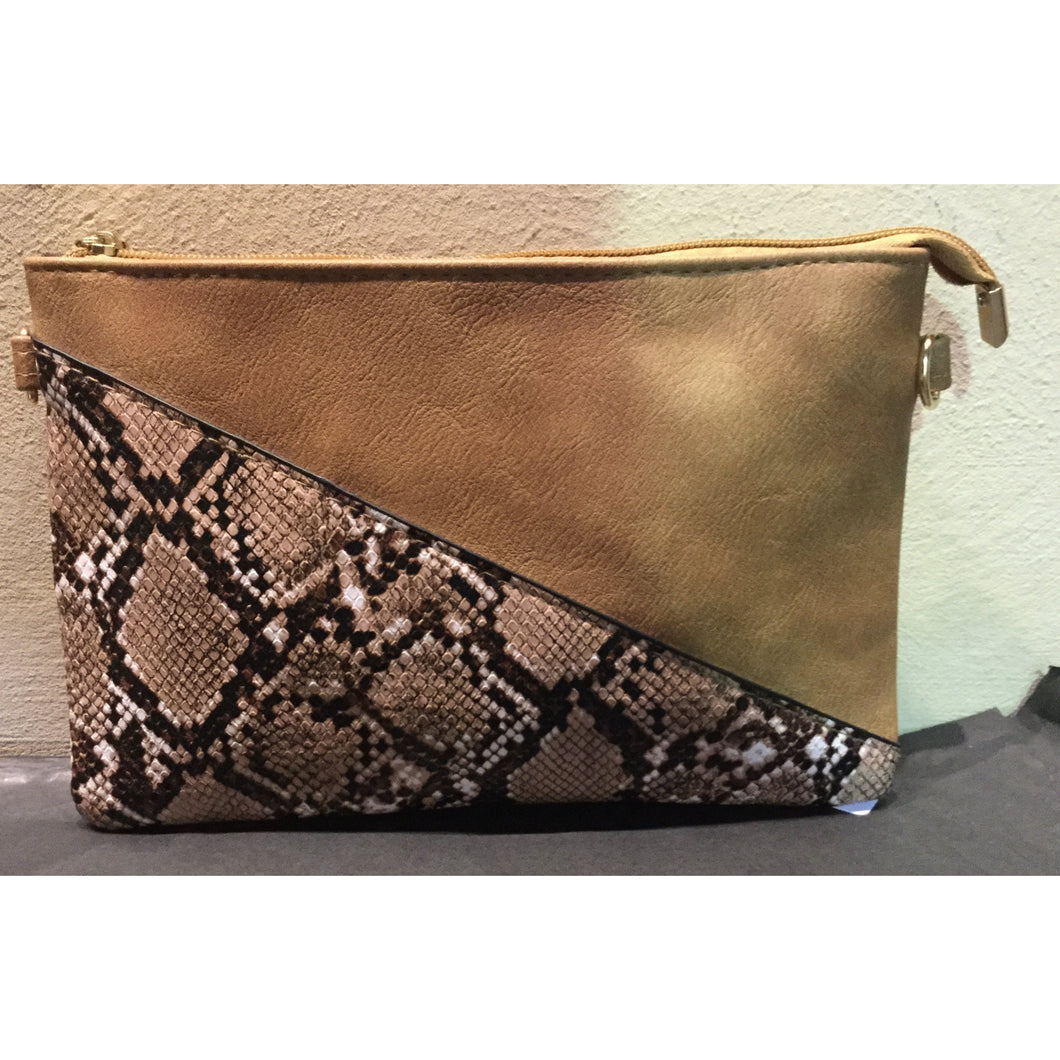 Tan and Python Clutch