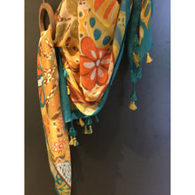 Load image into Gallery viewer, Teal and yellow scarf with Tassels.