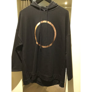 Gold Circle Black Hooded Sweater