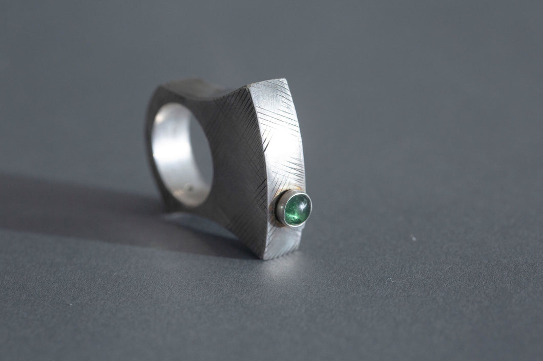 Green Tourmaline Architectural Ring