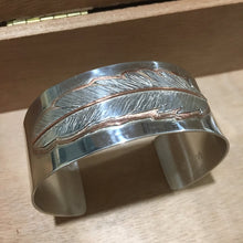 Load image into Gallery viewer, Silver & Copper Feather Cuff