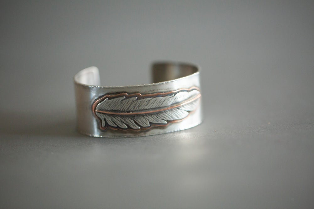 Silver & Copper Feather Cuff