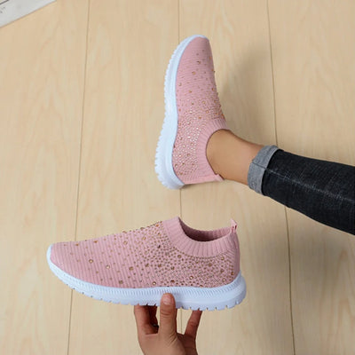 [Limited Stock, 50% OFF] Fly-knit sneakers with diamonds - Only Today - goodwearing