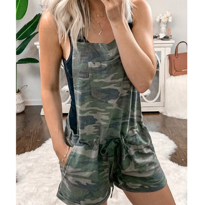 [FreeShipping, 51% OFF] CAMO DRAWSTRING ELASTIC WAIST POCKETS ROMPER-Only Today - goodwearing