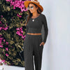 [Last Day Promotion, 50% OFF] Ribbed long sleeve loose suit