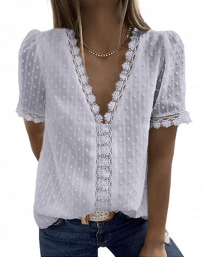 [50% OFF TODAY & FREE SHIPPING]V Neck Lace Blouse (6 Colors) - BestLittleThing