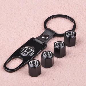 【Hot sale!!!】Universal Steel (4pcs) Car Tire Valve Stem Air Caps Cover + (1pcs) Keychain - goodwearing